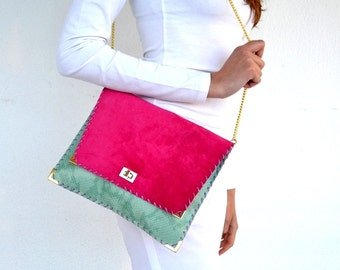 Fuchsia and  pistachio leather purse / Leather clutch / Handmade leather bag with gold metal chain