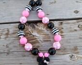 Minnie Mouse Disney Inspired Pink Black White Bubblegum Necklace