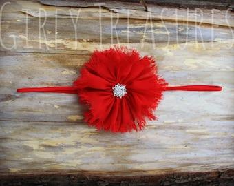 Red Flower Headband. Baby Headband. Girl Headband. Toddler Headband. Newborn Headband. Photo Prop.
