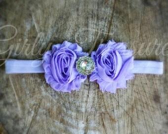 Lavender Shabby Flower Headband. Baby Headband. Newborn Headband. Girl Headband. Infant Headband. Photo Prop.