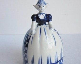 Vintage Delft Dutch Girl Porcelain Dinner Bell