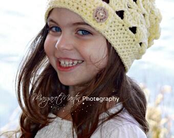 Slouchy Hat, Slouch hat, Womens hat, Adult hat, Wool Hat, Ladies Hat, Child Hat, Girls Hat, Hat, Beret, Button Hat, Ladies Slouch Hat