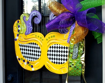 Mardi Gras Door Hanger, Unfinished wooden decor, Mardi Gras Decor, Fat Tuesday, Unfinished Wooden Decor, Unfinished Door Hanger