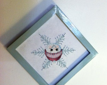 Blue Snowman Beaded Cross stitch Picture