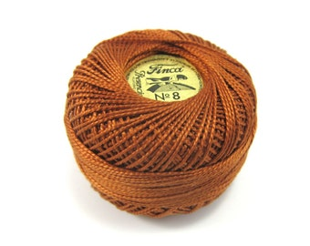 Dark Golden Brown Finca Perle Cotton Thread Pearl Cotton