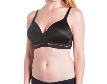 32C Black Bralette, Black Sports Bra, Black Yoga Bra, Supportive Sleep Bra, Wireless Bra with VELCRO (R) Back Closure, Bra for Small Breasts