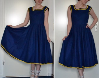Blue and yellow 1950s Summer dress