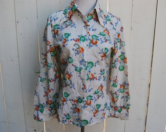 BLOOMING BLOSSOMS Button Up Foral Green Red Orange White Tan Long Sleeve Shirt