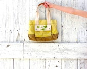 Canvas Summer Purse , Upcycled yellow bag , boho indie fashion , bird applique , eco fashion purse by wearlovenow , upcycled clothes