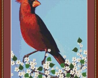Red Cardinal Cross Stitch Pattern