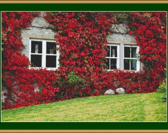 Ivy On House In Autumn Cross Stitch Pattern