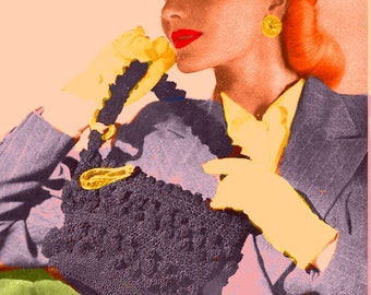 Almost FREE Vintage 1944 Fancy Popcorn Handbag 1062 PDF Digital Crochet Pattern