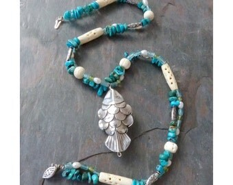 Silver Fish Pendant Necklace on Blue Strand with Turquoise, Pearls, Bone, and Gemstones, Handmade