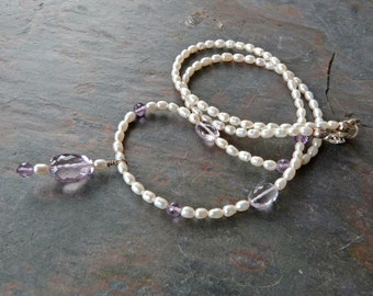 Pink Amethyst and Pearl Pendant Necklace, Handmade, Genuine Gemstone & Pearls