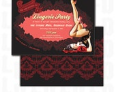 Lingerie Party Invitation, Bachelorette Party, Stagette, Ladies Night, Hens Night, Bridal Shower - Red, Black, Lacy Pin-Up - Printable File