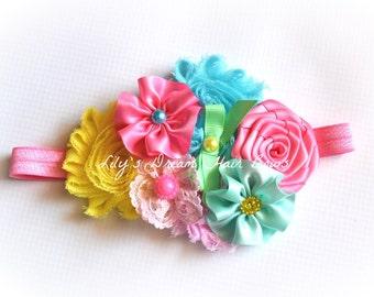 10% OFF Over the top hair headband Yellow headband Pink headband Yellow and Pink headband