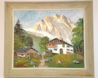 Country Side Swiss Cottage Oil Painting