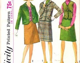 "Vintage 1965 Simplicity 6124 Mod Suit and Vest Sewing Pattern Size 10 Bust 31"""