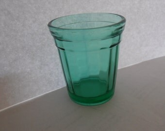 Akro Agate Green Teal 2 Inch High Childs Toy Tumbler or Glass, 1930's