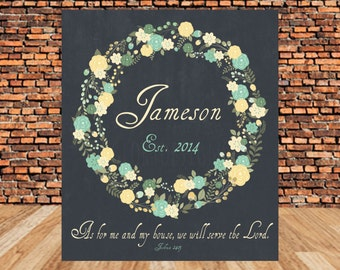 Last Name, Personalized, Monogram Scripture printable, As for me and my house, Joshua 24:15, DIY, Wedding
