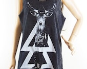 Deer Shirt Deer Tank Top Deer Shirt (Unisex T Shirt) Men T-shirt Women Tank Top Bleach Black Tshirt Sleeveless Size M
