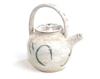 Petite Earthenware Pottery Teapot - Natural Beige, Green Stripe Accents - Solid Handle, Interior Strainer - Vintage Kitchen Serving