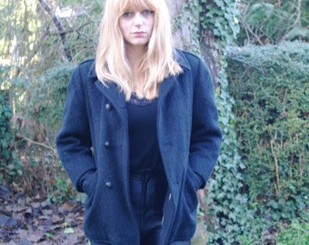 Black wool rock and roll coat -vintage 80-