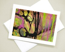 Hand-painted card -- Striped Abstract II -- 4x6 inch acrylic ink painting on 5x7 card / OOAK / original C-87