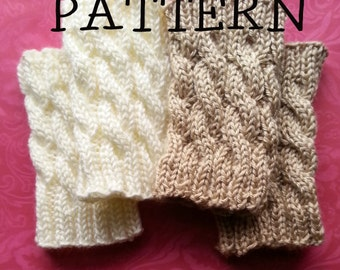 PATTERN for Boot Cuff / Boot Topper - Cable Knit Leg Warmer / Rain boot liner