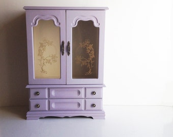 Vintage Wood Jewelry Case Upcycled / Painted Jewelry Cabinet / African Violet / Shabby Chic Decor / Trinket Box / Jewelry Display Case
