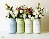 Painted Mason Jars Home Wedding Decor Vase Centerpiece Lavender Green White