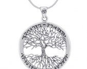Wiccan Twisted TREE of LIFE Pendant 925 Sterling Silver Gift Boxed
