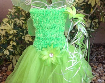 Tinkerbell Dress, Fairy Wings, Fairy Costume, Tinkerbell Tutu, Tinkerbell Fairy Costume, Tinkerbell Costume, Tinkerbell Wings
