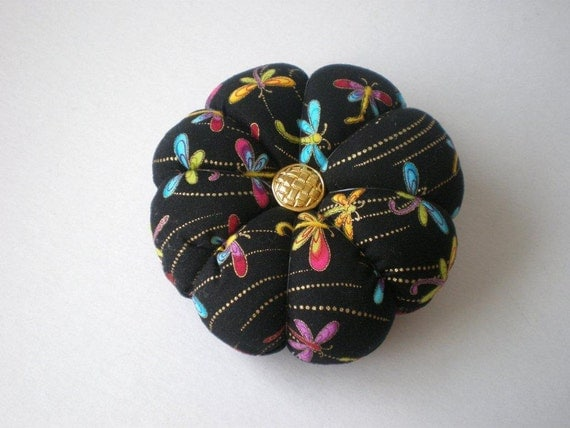 Pincushion DRAGONFLY FABRIC. Great for a sewing gift - Round Pin cushion Double Sided dragonflies.