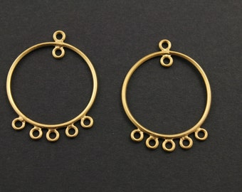 Gold Filled, Round Earrings Component 26mm, 1 Pair (GF/6629/26)