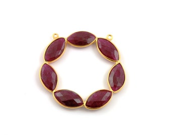 Dyed Red Ruby Bezel Gemstone Component, Gold Vermeil,  40mm, 1 Piece, (RBRFLR01)