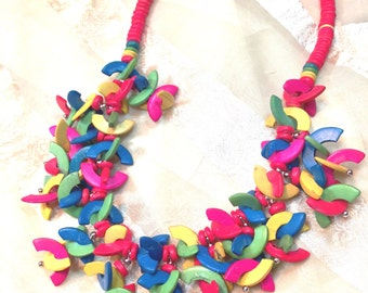 Crazy Confetti Necklace Vintage 1970s Estate Jewelry