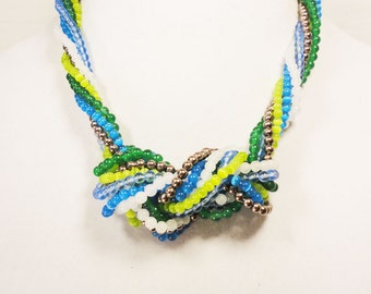 Blue and Green Knotted Bead Necklace
