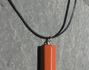 RED Jasper 6 point Pendulum Pendant Necklace Large charm metaphysical classic Red Stone Mineral Jewelry gift
