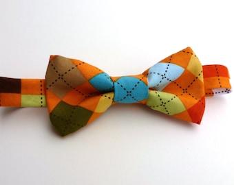 Boys Bow Tie- Orange Argyle - Sizes newborn-adult