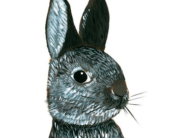 8x10 Fine Art Giclee Print of original Rabbit painting by Natalie Wright