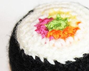Sushi Keyring Keychain - Stress Relief Crochet Sushi Futomaki Roll, Sushi Bag Charm, Sushi lover gift