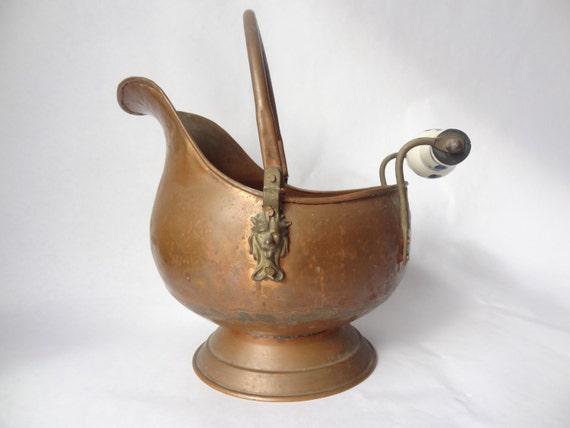 Fireplace Bucket Vintage Copper Antique Ash Scuttle Pail