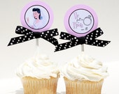 Retro Housewife Bridal Shower Cupcake Toppers - HE Put A RING On ITPrintable
