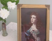 Beautiful Neo-Classical Antique Print Of Woman In Gold Leaf Frame