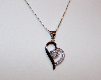 Necklace - Stunning Sterling Silver 18in Delicate Chain with Gorgeous Sterling Silver Heart Pendant with Swarovski Crystal Center