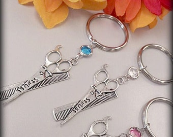 Hair Stylist Scissor and Comb Charm Keychain