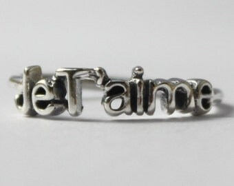 Sterling Silver JeT'aime stacking ring, Poetic French word, I Love You, Graduation gift, Engagement ring, Inspirational statement jewelry