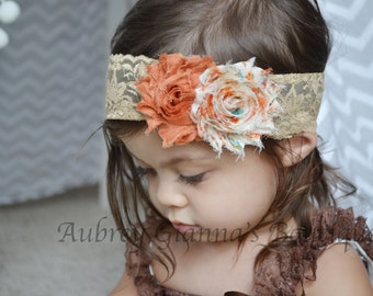 Baby Headband, Boho Lace Fall Headband, Thanksgiving headband, Auttumn,newborn photo prop, infant headband, First thanksgiving,