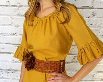Mustard Yellow Stretch  Linen Look Ruffled Sleeve Women's Peasant Dress/ Tunic